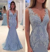 fashion long evening dresses 2017 low v neck appliques lace beaded mermaid women pageant gown for  formal prom party gown