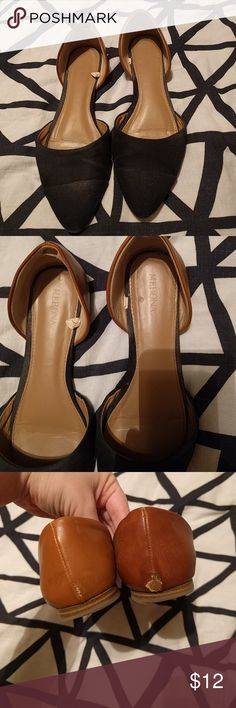Dorsay style flats Super stylish pointy toe flats with a black fabric and brown imitation leather two tone design. Some wear, as obvious in the photos, but plenty of life left! Just don't find myself wearing them much anymore! Merona Shoes Flats & Loafers