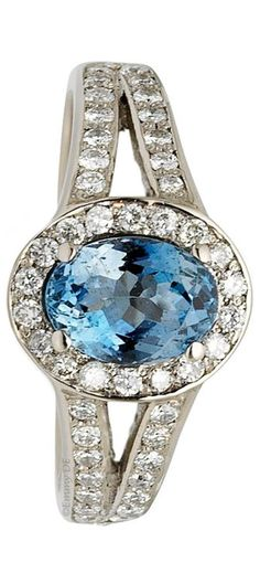 Emmy DE * Afro Cocktail aquamarine engagement ring with diamonds