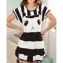 Pijama Feminino Preto E Branco Panda