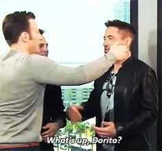 Chris Evans and Robert Downey Jr. >>>>> Captain Dorito, shoulder to waist ratio of a Dorito
