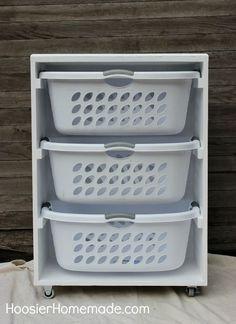 DIY mobile laundry station to simplify your routine.a DIY mobile laundry station to simplify your routine. Laundry Room Shelves, Laundry Storage, Laundry Room Organization, Laundry Rooms, Laundry Area, Laundry Closet, Dresser Organization, Bath Storage, Folding Laundry