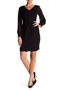 Image of Marc New York Sheer Sleeve Dress