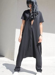 Oversize jumpsuit, black jumpsuit, dungarees, hippy jumpsuit, Maxi black jumpsuit, drop crotch jumpsuit, extravagant jumpsuit, jumpsuit by KOTYTOstyleLAB 79.80 USD Oversize jumpsuit, black jumpsuit, dungarees, hippy jumpsuit, Maxi black jumpsuit, drop crotch jumpsuit, extravagant jumpsuit, jumpsuit Elegant and chic Long women's one piece Oversized jumpsuit NEW Black Baggy Style with 2 side Pockets ,zipper and hood. Perfect for day time or the evening. Comfortable loose fit - loo...