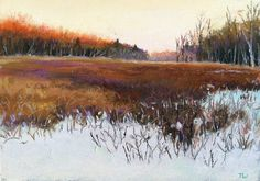 """Last Light on the Marsh - 5x7"""" - Pastel  available - info@takeyceart.com"""