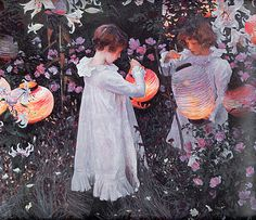 John Singer Sargent - Carnation Lily Lily Rose Rose This painting is set in a garden in the Cotswolds village of Broadway, where John Singer Sargent stayed in the summer of 1885. The children lighting Japanese lanterns with tapers are Dolly (left) and Polly Barnard. Their father was the illustrator Frederick Barnard - a friend of Sargent's.