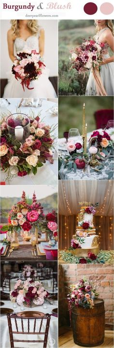 Burgundy and Blush Fall Wedding Color Ideas / http://www.deerpearlflowers.com/burgundy-and-blush-fall-wedding-ideas/ #Weddingscolors