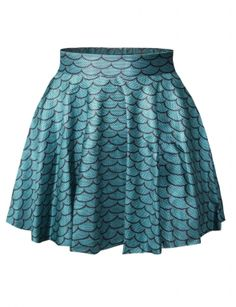 Blue Fancy Womens Sexy Mermaid Printed Pleated Skirt