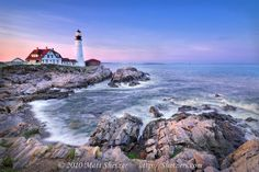 Cape Elizabeth is the home of the Portland Head Light.  One of the most picturesque lighthouses on the Maine shores.  This beautiful lighthouse and keeper's home showcase the very essence of why lighthouses are needed along the rocky coastline.  At sunset, the lighthouse and coastline are bathed in a warm pink glow.  Look closely and you will see another lighthouse off in the distance. Portland, Maine.