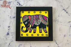 "Hand-painted ""Madhubani Art"" Coasters from Bihar – Remek Worli Painting, Abstract Painting Techniques, Art Painting Gallery, Ganesha Painting, Ganesha Art, Fabric Painting, Madhubani Art, Madhubani Painting, Small Canvas Art"