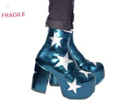 b742e8e6a5e Handmade Vegan Stardust Metallic Teal Platform Ankle Boots with Silver  Stars by Isabella Mars