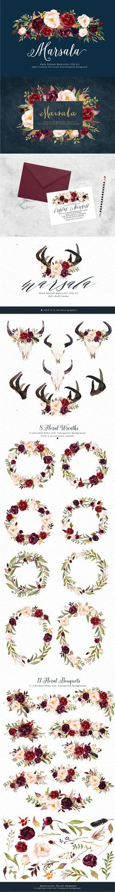 Watercolor flower Clip Art-Marsala. Watercolor Flowers