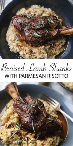 Home Made Doggy Foodstuff FAQ's And Ideas Braised Lamb Shanks Recipe With Parmesan Risotto - These Red Wine, Vegetable And Stock Braised Lamb Shanks Is One Of My Favorite Recipes Serve It Up With An Amazing Parmesan Cheese Risotto Lamb Chop Recipes, Meat Recipes, Wine Recipes, Cooking Recipes, Recipes Dinner, Healthy Lamb Recipes, Recipes With Lamb, Cooking Food, Chef Recipes