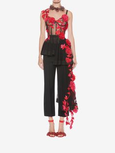 Shop Women's Pressed Rose Embroidery Bustier Top from the official online store of iconic fashion designer Alexander McQueen.