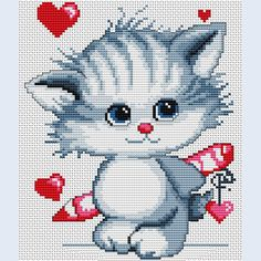 Diy Crafts - Kitten - counted cross-stitch kit - Luca-S Kawaii Cross Stitch, Small Cross Stitch, Cross Stitch Baby, Cross Stitch Animals, Counted Cross Stitch Kits, Modern Cross Stitch, Cross Stitch Charts, Cross Stitch Patterns, Cat Cross Stitches