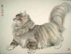 Китайские акварели с кошками.  Japanese long haired cat.