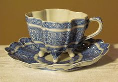 Vintage Quatrefoil Blue White Hand Painted Design Tea Cup Saucer Chinese | eBay