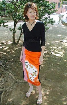 「明日香2号」・オレンジ地御所人形模様   明日香   Shop Z Photo, Japanese Kimono, Lace Skirt, Upcycle, Women Wear, Skirts, How To Wear, Inspiration, Fabrics