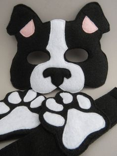 Who wouldn't want to dress up as a loveable dog with this easy costume set? This Boston Terrier set comes with a felt mask and a pair of felt paw cu Boston Terriers, Boston Terrier Costume, Diy Dog Costumes, Kids Costumes Boys, Puppy Costume For Kids, Dog Mask, Felt Mask, Animal Masks, Sewing Patterns For Kids
