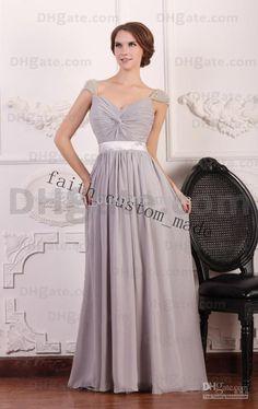 Wholesale Prom Dress - Buy Silver Sheath Chiffon Evening Dress Illusion Cap Sleeves Full Length Cross Knot Belt Slightly Shir, $118.18 | DHgate