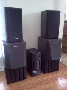 "Speaker System in Dalli's Garage Sale in Hampton , GA for $70.00. 2 - 200 watt Sony brand 20"" tall; 2 - 100 watt Technics brand. 15"" tall; 1 - Sony SRS-D2 Sub Woofer with 2 speaker inputs."