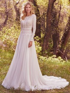 Maggie Sottero - DEIRDRE MARIE, Understated elegance is found in this subtle lace and chiffon modest wedding dress, complete with bateau neckline and long sleeves. Lace is fully lined with Inessa jersey for demure coverage. Maggie Sottero Wedding Dresses, Wedding Dress Sleeves, Long Sleeve Wedding, Boho Wedding Dress, Boho Dress, Wedding Lace, Trendy Wedding, Gown Wedding, Chic Wedding