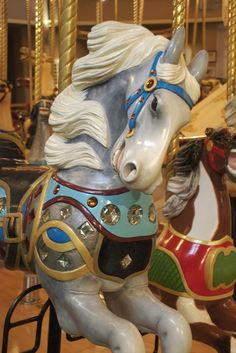 The 1913 Parker Carousel at C. Carousel Museum, Merry Go Round Carousel, Victorian Dollhouse, Modern Dollhouse, Pretty Animals, Wooden Horse, Painted Pony, Carousel Horses, Antique Toys