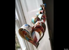 Paper Heart Decorations made from Comic Book // Kellee Khalil: Geek Wedding Inspiration: Computer Love... And Other Geek-Chic Ideas