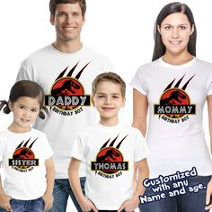 Jurassic World Birthday shirt, Jurassic personalized shirt Custom Birthday Shirts, Birthday Boy Shirts, Baby Boy Birthday, Jurassic Park T Shirt, Jurassic Park Party, Jurassic 4, Birthday Party At Park, Dinosaur Birthday Party, 5th Birthday