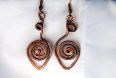 Copper Earrings Coiled Leaf Copper Jewelry by UrbanJule on Etsy, $15.00