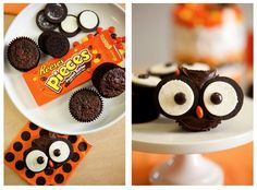 cupcake, oreo & reese's pieces owls...so cute, i wanna try!  We've got to do this @Kelley Oberg Smith Pye-Dancer