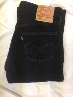 50dcda21 Vtg Levis 501 Super Black Jeans Button Fly Classic Straight Sz 32x34 Made  In USA