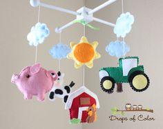 Baby Crib Mobile - Baby Mobile - Farm Mobile - Nursery Crib Mobile - Cow, Pig, Dog, Rooster, Barn Old Macdonald Farm Mobile. $85.00, via Etsy.