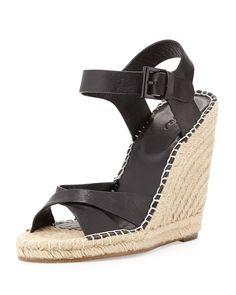 Joie Lena Leather Espadrille Wedge, Black, Women's, Size: 36.0B/6.0B