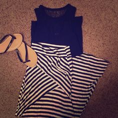 Black and white striped maxi skirt This is a Charlotte Russe brand black and white striped mini skirt. Alternating patterns of stripes creates a very flattering shape. Bottom is flowy. Charlotte Russe Skirts Maxi