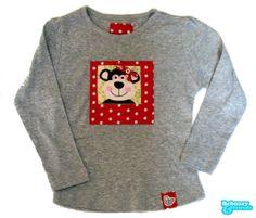 Animals_09-Cotton's grey long sleeve for girl, with ta very cute monkey with tie. Camisola cinszenta de menina, com uma macaca adorável by BebuzzyandFriends, €15.00