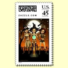 Sisters Three Witch US Postage Stamp by XG Designs NYC. #stamp #witch #halloween
