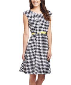 Navy & Cream Houndstooth Cap-Sleeve Dress