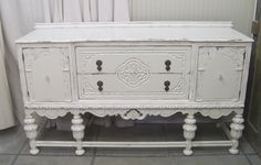 Old buffet painted white