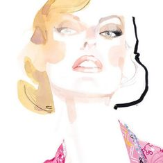 Linda by David Downton   gorgeous fashion-type watercolor and ink illustration   high cheekbones   abstract   female face