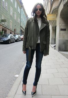 Columbine Smille - Stella McCartney Shoes, BLK DNM jacket, Frame Denim jeans, and Ray Bans.