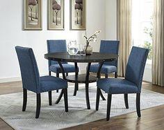 Biony Espresso Wood Dining Set with Blue Fabric Nailhead ... https://www.amazon.com/dp/B01LZVKLQ3/ref=cm_sw_r_pi_dp_x_f6T9xb28JS62K
