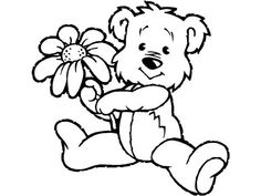 Spring Little Bear Holding Flower Coloring Page