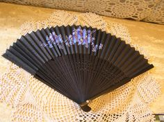 Vintage Black Fan With Blue  flowers, Collector's Item by SterlingHeirloom on Etsy