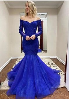 Long Sleeve Royal Blue Mermaid Prom Dress, Lace Evening Gown T646 by sweetdressy, $166.50 USD Blue Lace Prom Dress, Mermaid Prom Dresses Lace, Dress Lace, Lace Evening Gowns, Formal Dresses, Wedding Dresses, Party Dresses, Bridesmaid Dresses, Women's Fashion Dresses