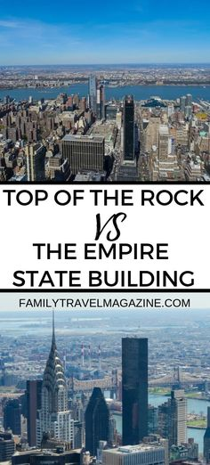 Which is Best: Empire State Building vs. The Top of the Rock - Top of the Rock vs the Empire State Building – which is the better option for your NYC family vac - # Spring Break Destinations, Family Vacation Destinations, Travel Destinations, Vacation Ideas, New York Vacation, New York City Travel, Brooklyn Bridge New York, Voyage New York, Dubai Skyscraper