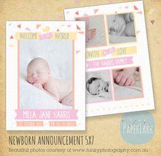 Newborn Birth Announcement Photoshop Card por PaperLarkDesigns