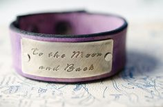 To the Moon and Back  Adjustable Lavender Leather by Cjohannesen, $25.00