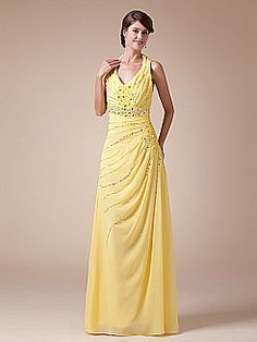 Halter Strapped Long Chiffon Prom Dress with Beading and Sequins - USD $126.00