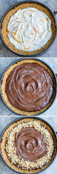 Easy Nutella Salted Caramel Cheesecake - A simple no-bake cheesecake that will impress everyone! Yummy Treats, Delicious Desserts, Sweet Treats, Dessert Recipes, Yummy Food, Easy No Bake Cheesecake, Cheesecake Crust, Salted Caramel Cheesecake, Baking Tins
